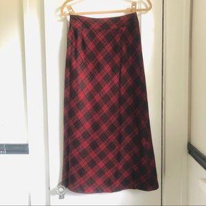 Red plaid wool skirt
